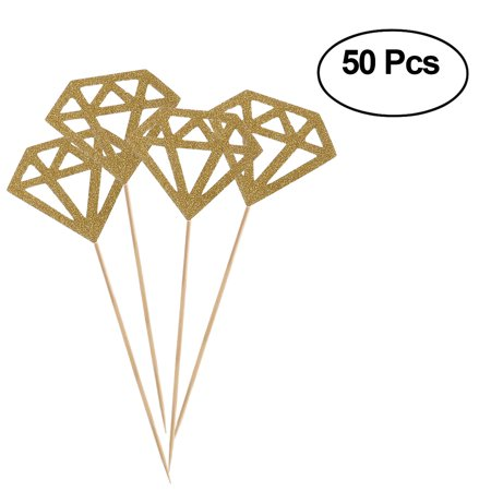 50pcs Glitter Paper Gold Diamond Cake Toppers Cake Decoration Party Ceremony Cupcake Toppers (Glitter Golden) - Horse Racing Cake Designs