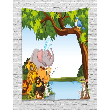 Kids Tapestry  Various Cartoon Style Animals Together By River Bank Tree Bird Cute Funny Wildlife  Wall Hanging For Bedroom Living Room Dorm Decor  40W X 60L Inches  Multicolor  By Ambesonne