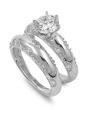 Round Center with Round Stones Cubic Zirconia Wedding Set Ring Sterling Silver 925