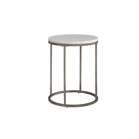Casana Furniture COntemporary Alana White Marble Round Accent Table - White marble and metal round accent table