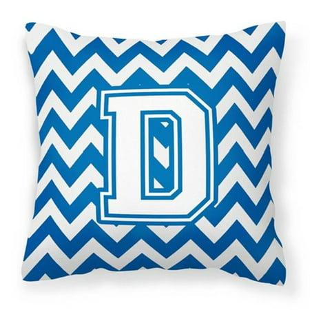 Carolines Treasures CJ1045-DPW1414 Letter D Chevron Blue & White Fabric Decorative Pillow, 14 x 3 x 14 in. - image 1 of 1