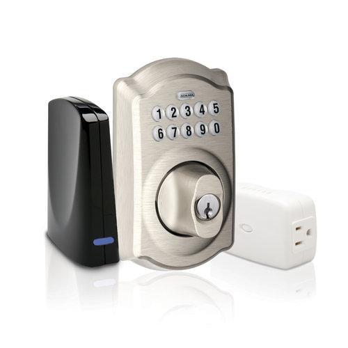 Schlage BE369GRNX CAM 619 Keypad Deadbolt Home Security Kit - Satin Nickel