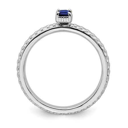 Sterling Silver Stackable Expressions Created Sapphire Single Stone Ring Size 7 - image 2 de 3