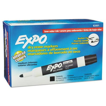 EXPO Low Odor Dry Erase Marker, Bullet Tip, Black, Dozen](Expo Dry Erase Markers)