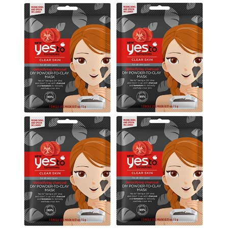 Yes To Tomatoes Clear Skin for All Skin Types Detoxifying Charcoal DIY Powder to Clay Mask, 1 Count (Pack of 4) + Cat Line Makeup Tutorial](Halloween Type Tutorials)