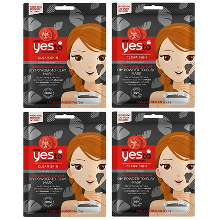Yes To Tomatoes Clear Skin for All Skin Types Detoxifying Charcoal DIY Powder to Clay Mask, 1 Count (Pack of 4) + Cat Line Makeup Tutorial](Diy Zombie Makeup Tutorial)