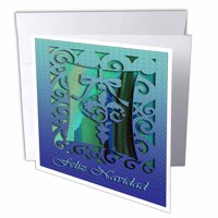 3dRose Feliz Navidad Merry Christmas in Spanish Blue Ornament, Greeting Cards, 6 x 6 inches, set of 12