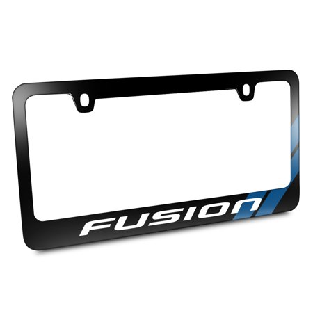 Ford Fusion Blue Stripe Black Metal License Plate Frame