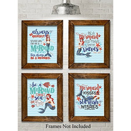 Mermaid Set Art Prints - Set of Four Prints (8x10) Unframed - Great Beach House Decor