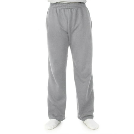 Fleece Lined Knit Pants (Men's Soft Light-Weight Fleece Open Bottom Sweatpant, with pockets)