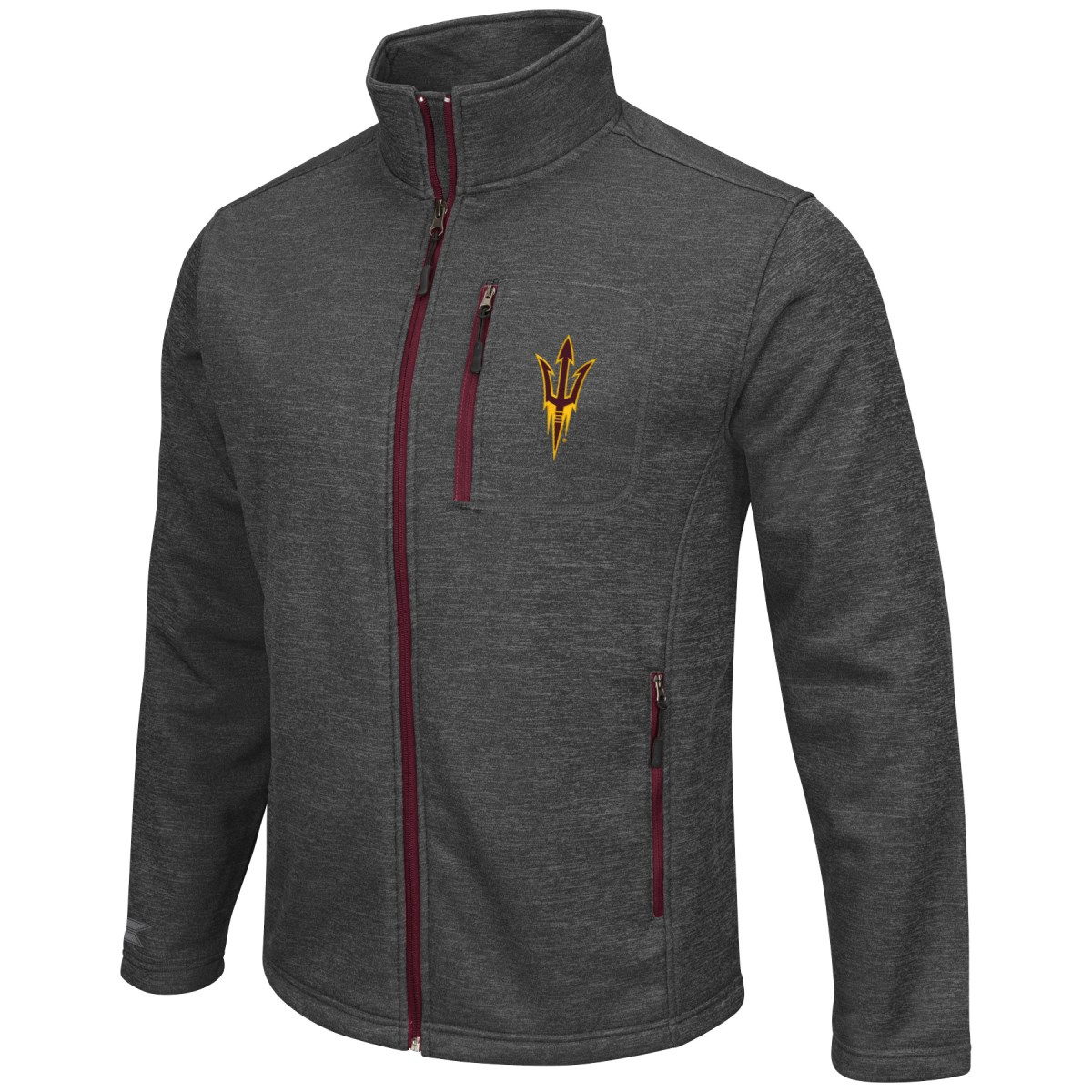 Arizona State Sun Devils NCAA Backfield 2 Full Zip Men's Heather Charcoal Jacket by Colosseum