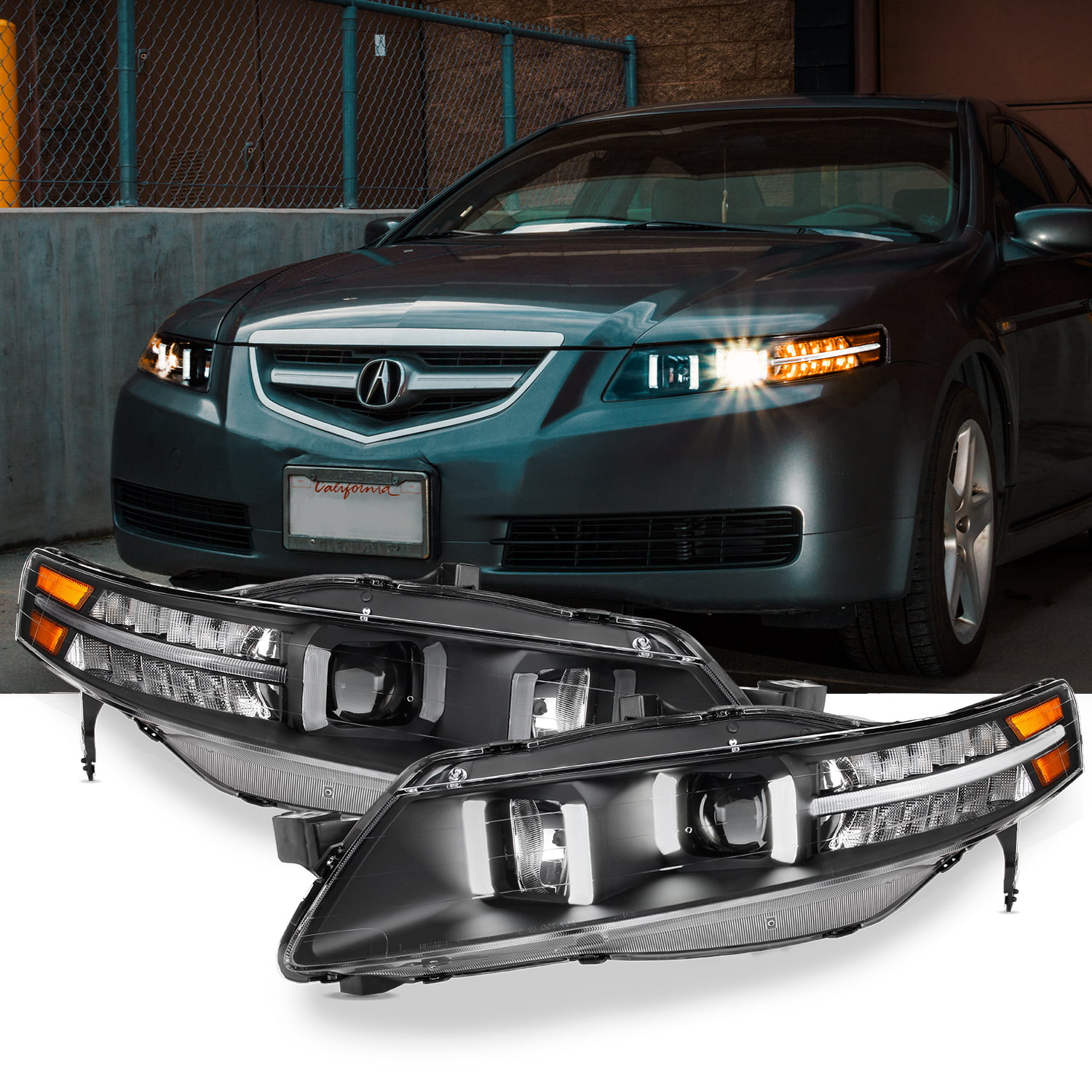 [Black] Fits 2004-2008 UA7 Acura TL LED Projector