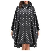 QunButy Plus Size Reusable Rain Coat for Women Portable Bicycle Outdoor Sports Rain Poncho with Hood and Cuff Sleeves