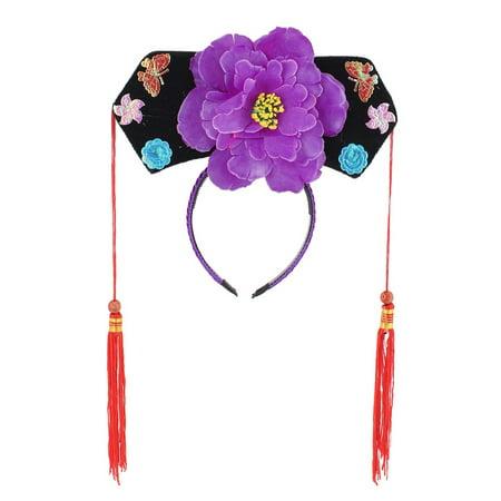 09f183f7825 Unique Bargains - Girls Tassels Purple Peony Decor Oriental Chinese  Princess Hairband Hat Headband - Walmart.com