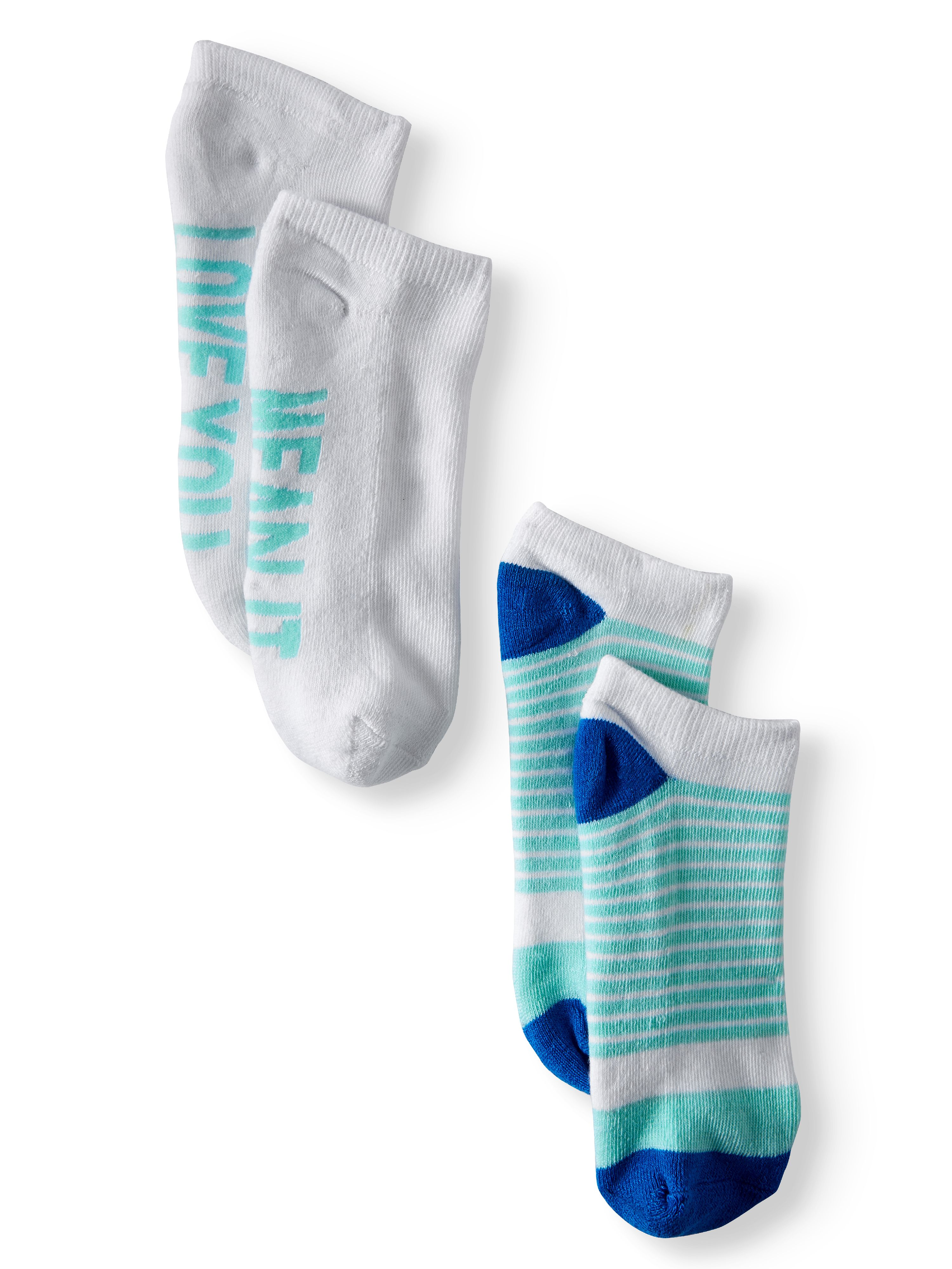 Ladies' Love You, Mean It 2-Pack Verbiage No Show Socks