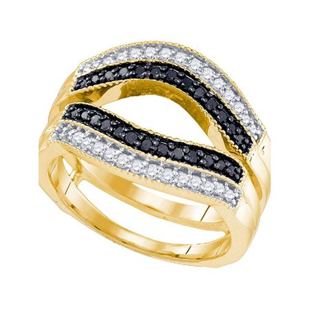 10kt Yellow Gold Womens Round Black Color Enhanced Diamond Ring Guard Wrap Solitaire Enhancer 1/2 Cttw - image 1 of 1