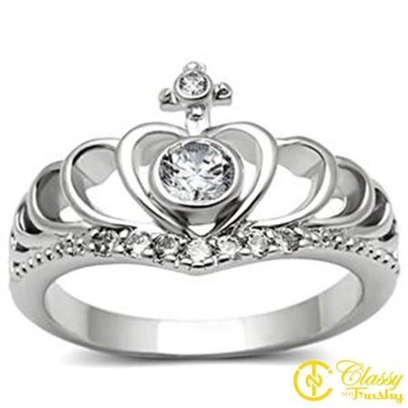 Classy Not Trashy® Size 5 Women's Clear Crystal Heart Design Crown with Cross Ring