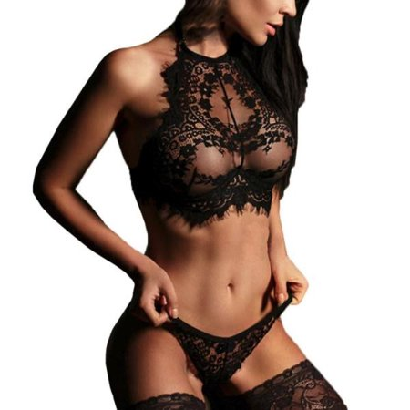 Women Sexy Lingerie Lace Flowers Push Up Top Bra Pants Underwear