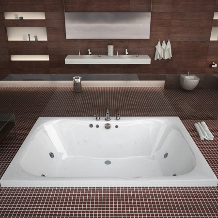 Atlantis Tubs 4060NWR Neptune 40 x 60 x 23 Rectangular Whirlpool Jetted Bathtub w/ Right Side Pump Placement ()