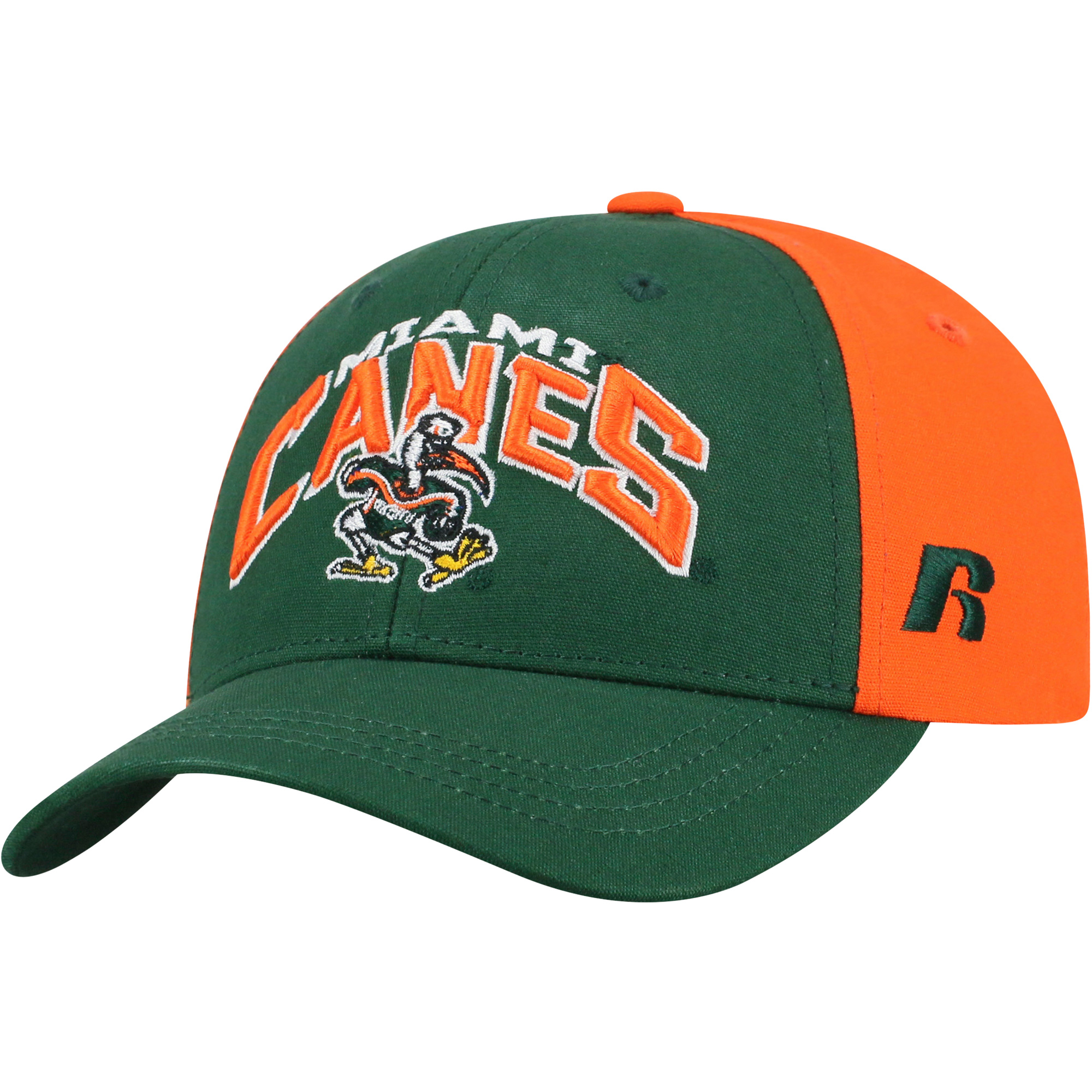 Youth Russell Green/Orange Miami Hurricanes Tastic Adjustable Hat - OSFA