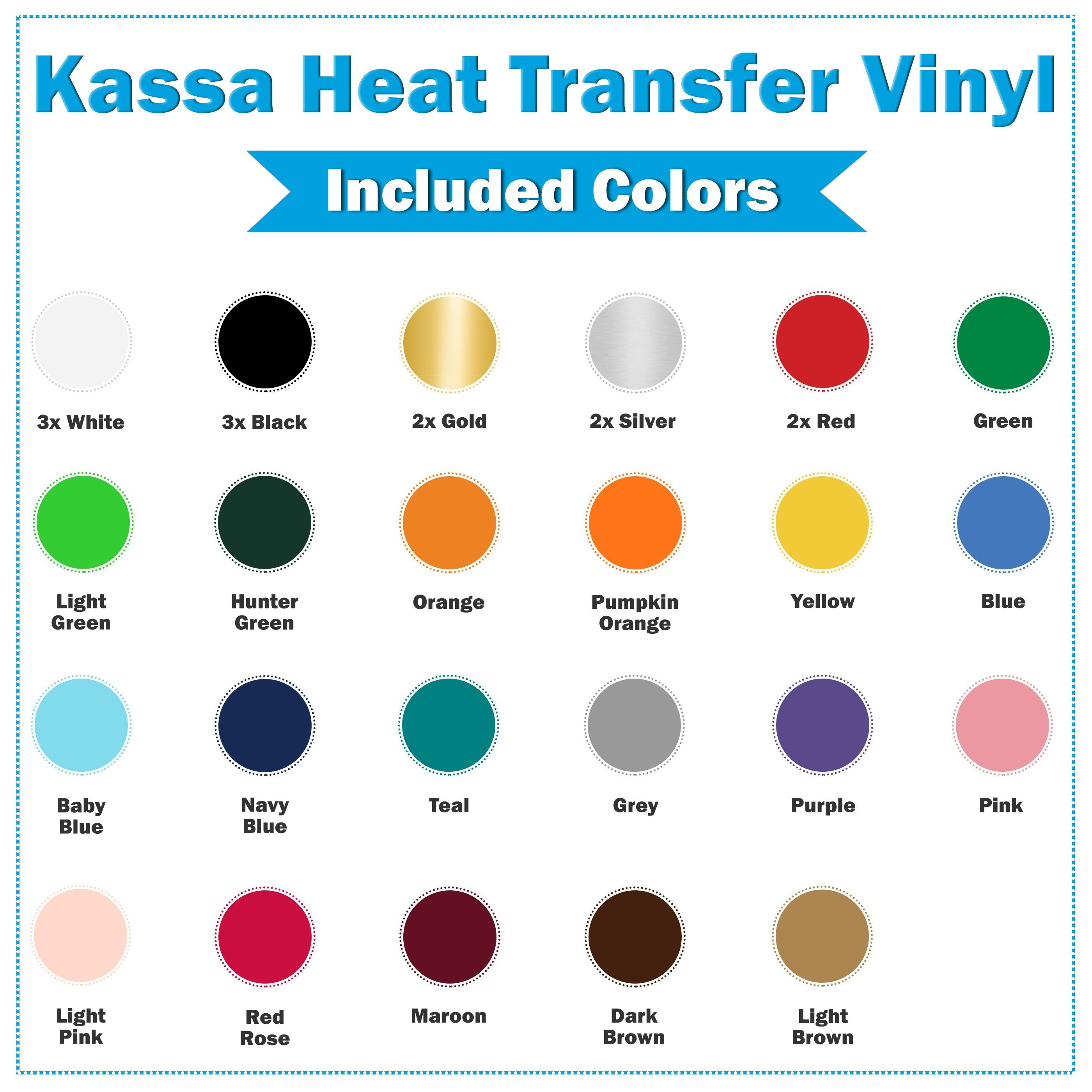 13 Assorted Colors Heat Transfer Vinyl for Cricut /& Silhouette Cameo and Heat Press HTV Iron on Vinyl 13 Sheets 12 x 10 by KISSWILL