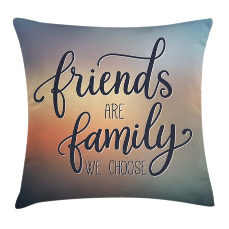 Family Throw Pillow Cushion Cover, Friends are Famly We Choose Inspirational Phrase Fashion Print BFF Theme, Decorative Square Accent Pillow Case, 16 X 16 Inches, Dark Blue Yellow Peach, by Ambesonne - Pillow Friends