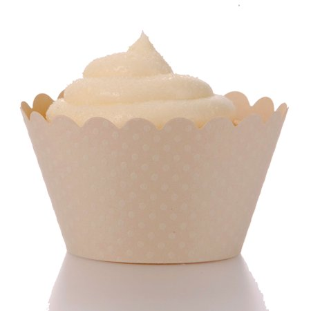 Dress My Cupcake Standard Ivory Beige Cupcake Wrappers, Set of 12