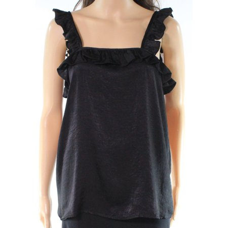 (Ro & De NEW Black Womens Size Medium M Ruffled Trim Sleeveless Blouse)