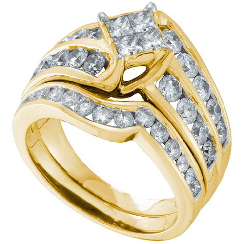 14K Yellow Gold 2.00ctw Shiny Invisible Set Diamond Princess Bridal Set Ring by Jewelrypot