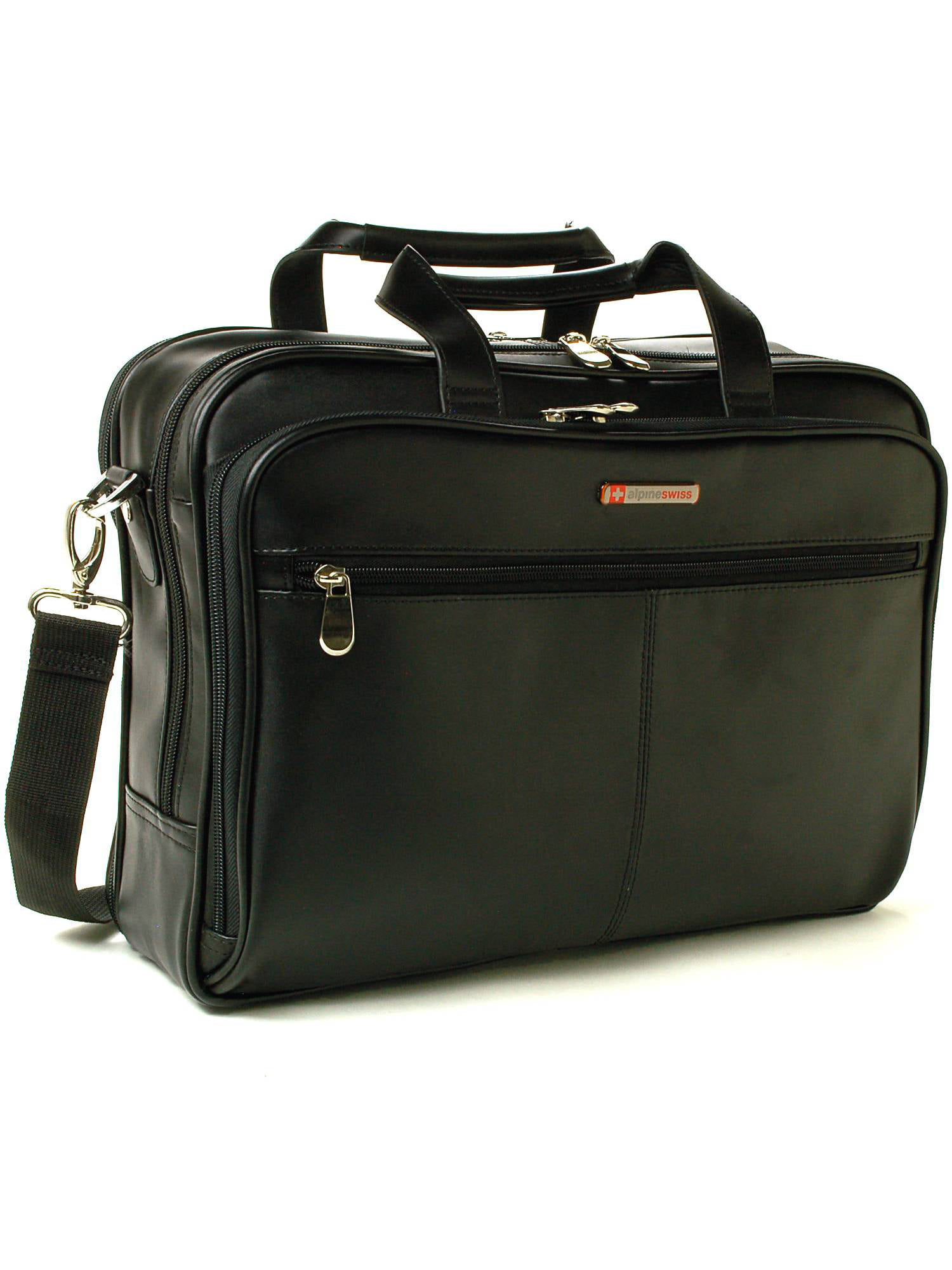 AlpineSwiss Leather Briefcase Laptop Case Messenger Bag Shoulder Strap Portfolio Black One Size by alpine swiss