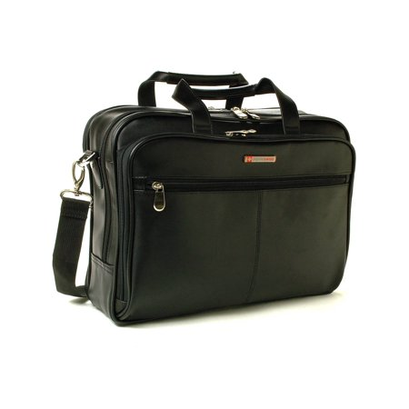 (AlpineSwiss Leather Briefcase Laptop Case Messenger Bag Shoulder Strap Portfolio Black One Size)
