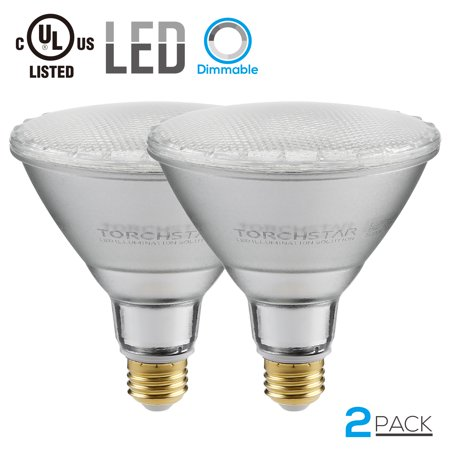 TORCHSTAR 2-Pack Dimmable PAR38 LED Light Bulb, 15W (120W Equivalent) LED Spot Light, Medium Screw Base (E26), 2700K (Soft White Glow), UL-Listed, Wet Location Available, 3 YEARS WARRANTY