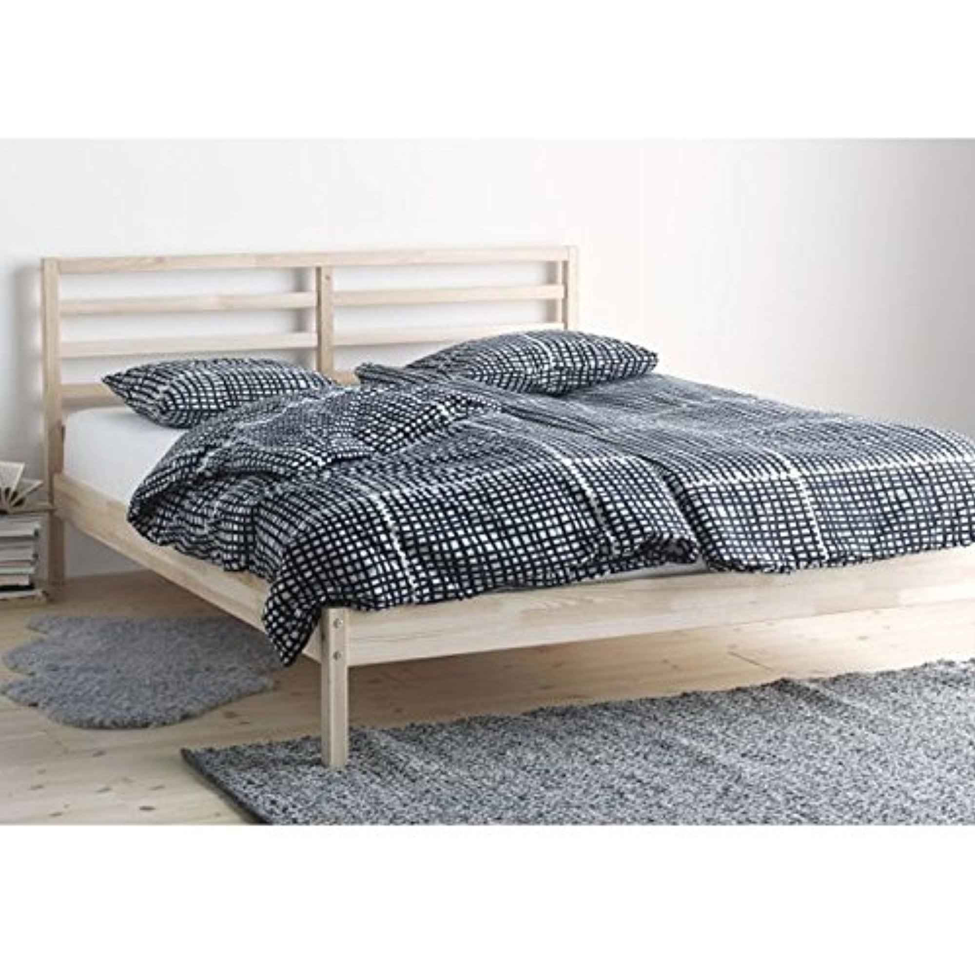 Ikea Tarva Queen Size Bed Frame Solid Pine Wood Brown 103838.1122.2016