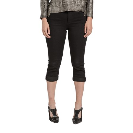 South Embroidered Jean (Miss Halladay Women's Black Stretch Denim Skinny Capri Jeans Embroidered Back pockets)
