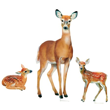 - Family of Deer Realistic Garden Stakes Set, Lawn Décor, 3 Pc