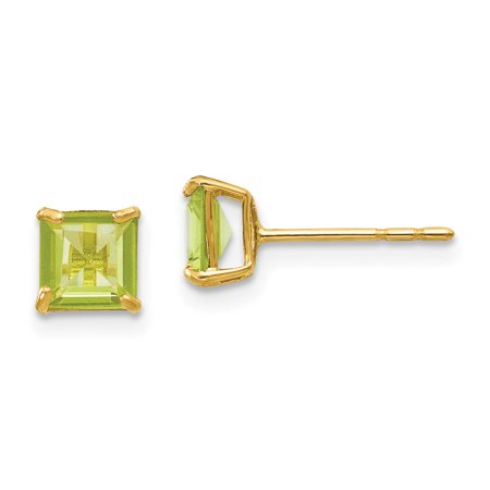 14k Yellow Gold Green Peridot 5mm Square Post Stud Earrings Birthstone August Gemstone Fine Jewelry Gifts For Women For Her - image 7 of 7
