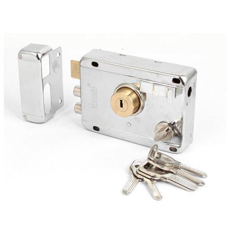 Home Room Metal Deadbolt Rim Night Latch Door Lock Set Silver Tone w 5 Keys - image 2 of 4