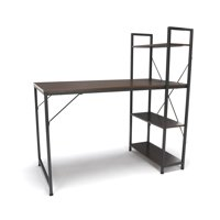 ESS-1004-GRY-WNT Office Furniture Essential Series Durable Metal Frame Gray Combination Desk With 4 Walnut Shelf Unit