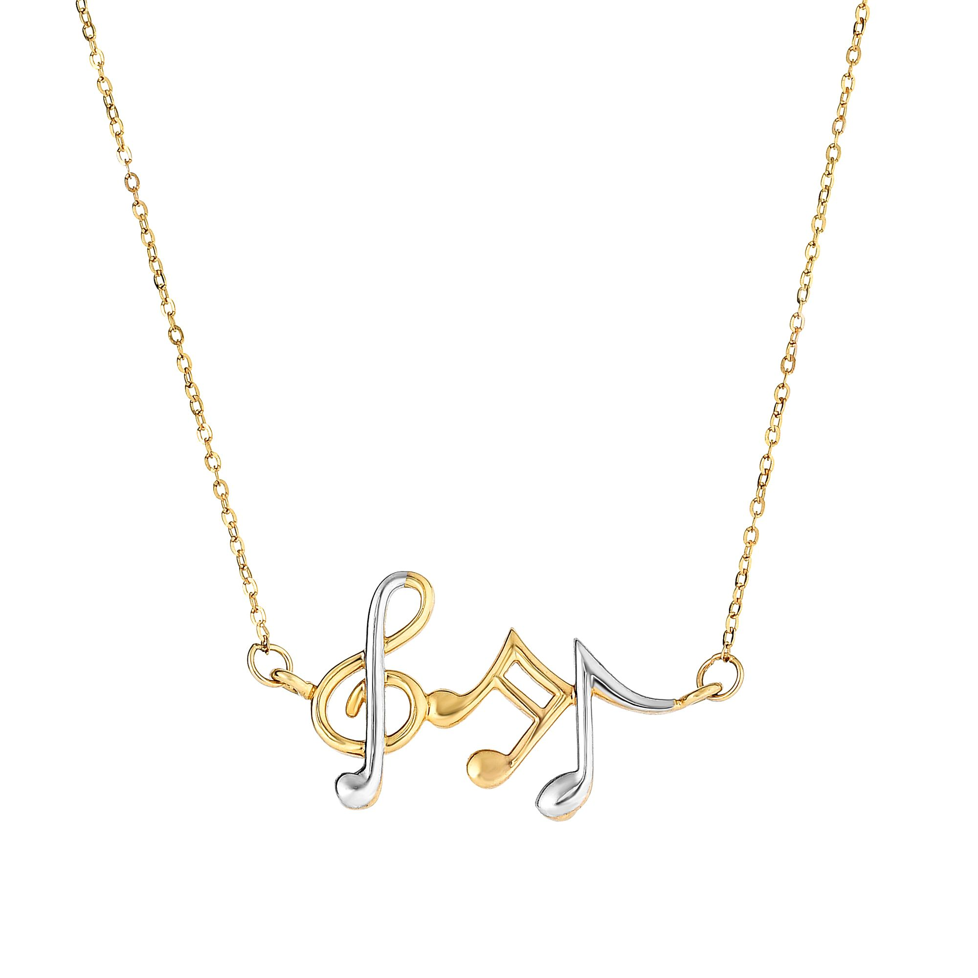 14k Two Tone Gold Musical Notes Necklace Anchored to Link Chain by JewelStop