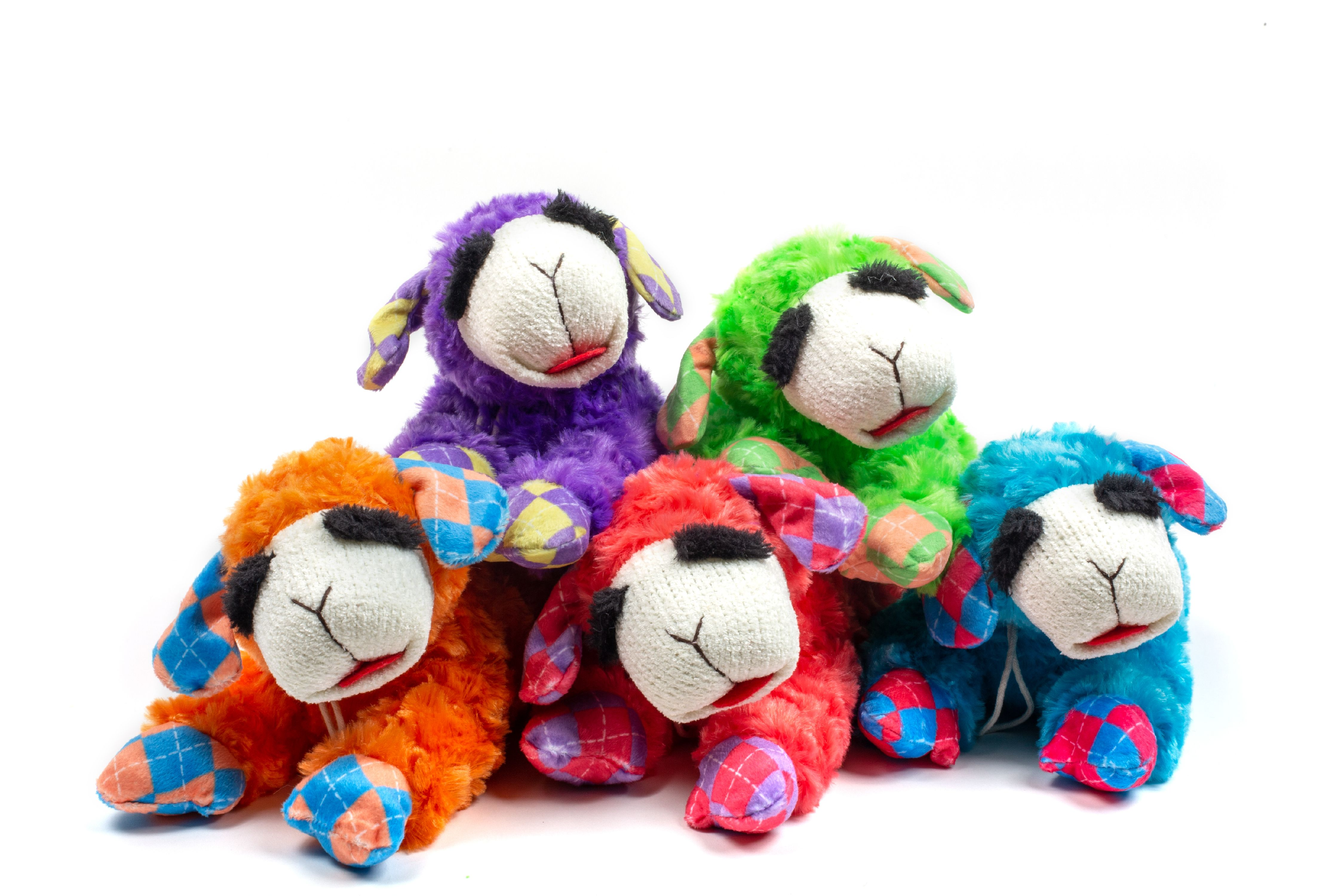 Multipet Plush Lamb Chop Dog Toy with Squeaker Assorted NEON Colors (Toy May Vary) by Multipet International