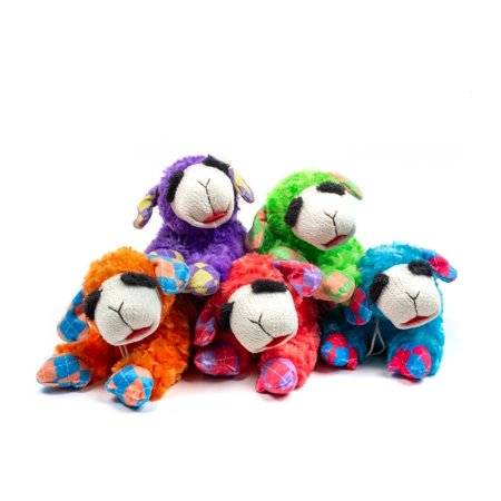 Multipet Plush Lamb Chop Dog Toy with Squeaker Assorted NEON Colors (Toy May (Dog Toys That Help With Separation Anxiety)