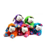 Multipet Plush Lamb Chop Dog Toy with Squeaker Assorted NEON Colors (Toy May Vary)