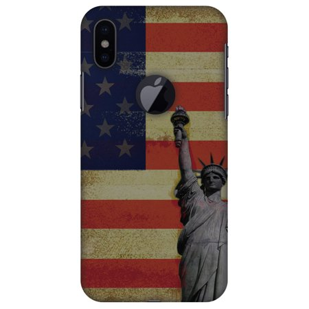 iPhone X Designer Case, Premium Handcrafted Printed Designer Hard ShockProof Case Back Cover for Apple iPhone X - Rustic Liberty US Flag, Thin, Light Weight, HD Colour, Apple Logo Cut](Apple Cut)