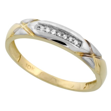 10k Yellow Gold Men's Diamond Wedding Band Ring 3/16 inch wide Size 8 Wide Diamond Band
