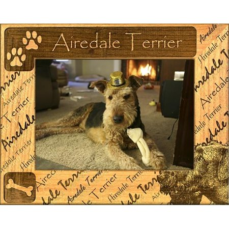 Giftworks Plus DBA0002 Airedale Terrier, Alder Wood Frame, 3.5 x 5 In