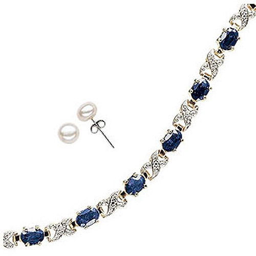 "7.2 Carat T.G.W. Sapphire and Diamond Accent 14kt Gold-Plated Tennis Bracelet, 7.25"", with Cultured Freshwater Pearl Stud Earrings"