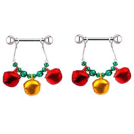 Nipple Shield Rings barbell barbells sold as a pair 14 gauge Holiday Bells