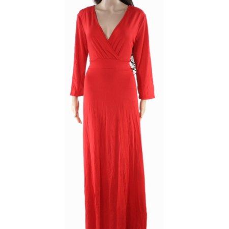 Womens Stretch Surplice Draped Maxi Dress XL