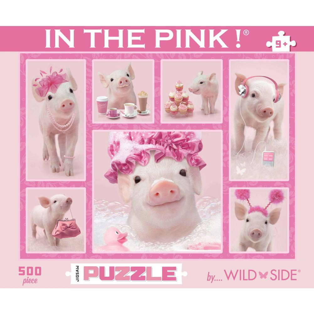 In the Pink Collage 500 Piece Puzzle,  Pigs by Go! Games