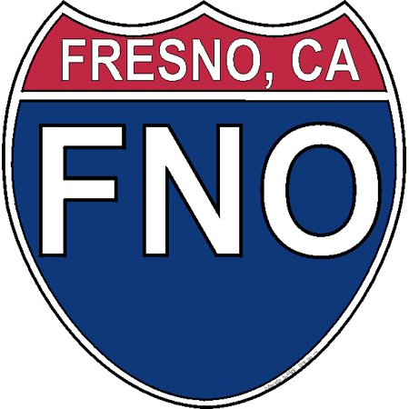 3.8 Inch US Interstate Sticker Fresno California (Toys R Us Fresno)